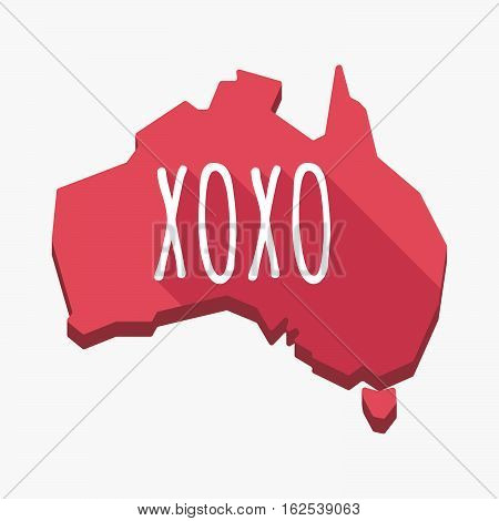 Isolated Australia Map With    The Text Xoxo