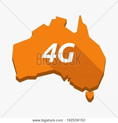 Isolated Australia Map With    The Text 4G