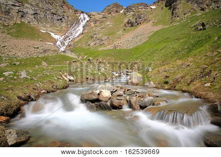 BONNEVAL-SUR-ARC, FRANCE: Waterfall and torrent above the hamlet L'Ecot, Vanoise National Park, Northern Alps