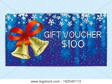 Christmas and New Year gift voucher with golden bells.