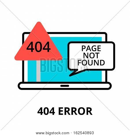 Modern flat editable line design vector illustration concept of error 404 - page not found icon for graphic and web design
