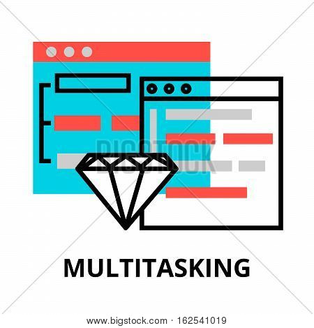 Modern flat editable line design vector illustration concept of computer multitasking icon for graphic and web design