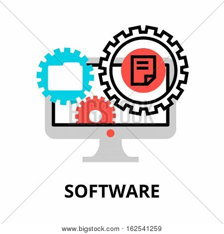 Modern flat editable line design vector illustration concept of software icon for graphic and web design