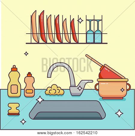 Kitchen sink with kitchenware, dishes, utensil, towel, wash sponge, dish detergent colorful outline cartoon illustration. Domestic kitchen interior vector illustration for household and clean design