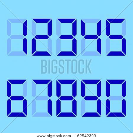 blue background. numbers blue electronics. Dial with a set of numbers . vector illustration .