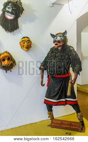 AMBALANGODA SRI LANKA - DECEMBER 5 2016: The mannequin in costume and mask for the Devil Dance in mask museum on December 5 in Ambalangoda.