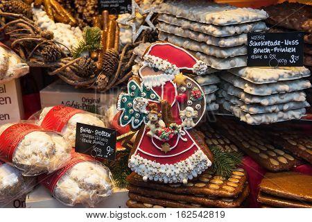 AACHEN,NORTH-RHINE-WESTPHALIA/ GERMANY -NOVEMBER 22, 2016: Festive decoration bakery showcase for Christmas holidays
