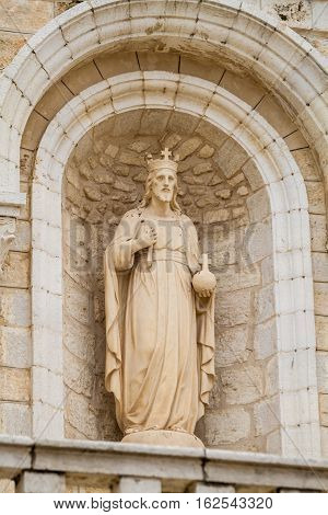 Sculpture in niche in the facade of the Church Of The First Miracle the Catholic Wedding Church in Cana of Galilee Israel