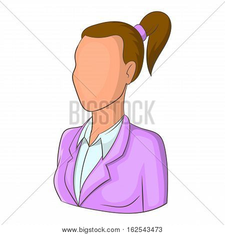 Woman with ponytail avatar icon. Cartoon illustration of avatar vector icon for web design