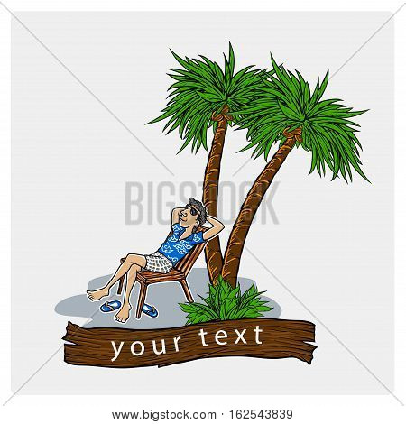 holliday in beach with coconuth tree vector illustration