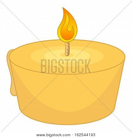 Burning candle icon. Cartoon illustration of burning candle vector icon for web