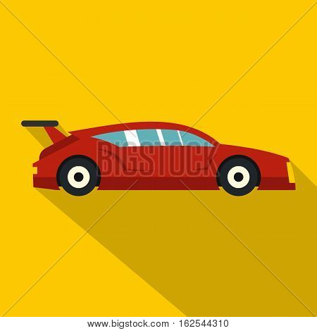 Red car icon. Flat illustration of red car vector icon for web isolated on yellow background
