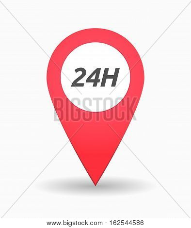 Isolated Map Mark With    The Text 24H