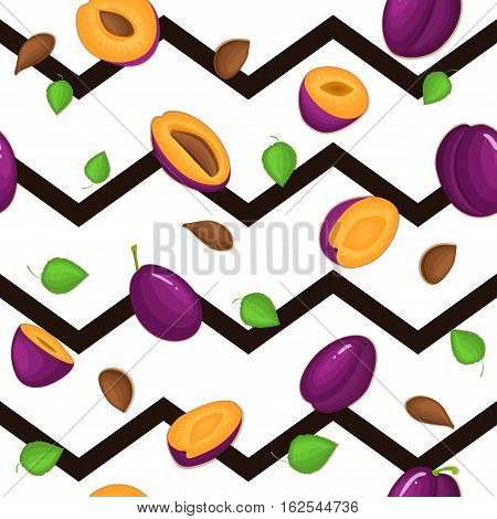 Seamless vector pattern of ripe plums fruit. Striped background with delicious juicy plum, whole, slice, half, leaves. Illustration can used for printing on fabric, textile in design packaging