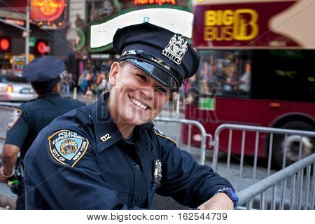 NEW YORK CITYUSA - september 23 2015: Laughing female women cop at Manhattan police new york