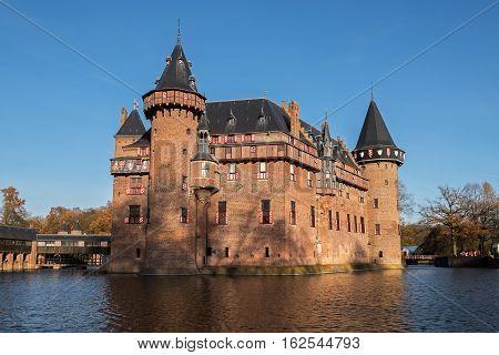 Medieval castle  De Haar near Utrecht in sunny autumn day, the Netherlands