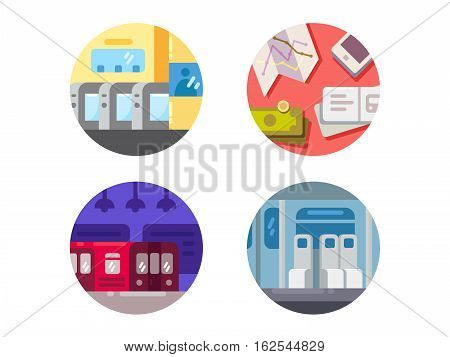 Subway flat icons. Underground train public transport. Vector illustration
