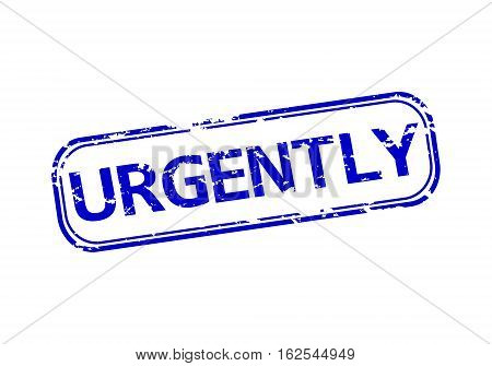 Rubber stamp with the word urgently isolated from the background, vector illustration.