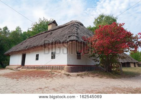 Old house of peasants in the museum Pirogovo. Ukraine