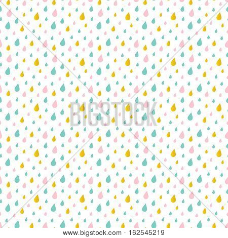 Cute little pink, mint green and gold water drops, rain seamless pattern background.