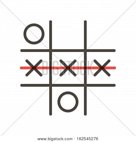 Tick-tac-toe or noughts and crosses game, vector icon, illustration isolated on white background.
