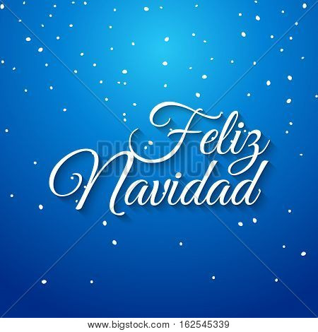 Feliz navidad spanish vector card. Mery Christmas greeting banner holiday celebration. Christmas typography feliz navidad.