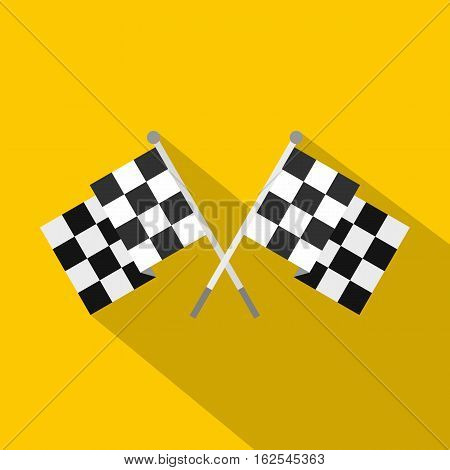 Crossed chequered flags icon. Flat illustration of crossed chequered flags vector icon for web isolated on yellow background