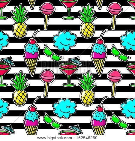 Stripe fabric fashion seamless pattern with embroidery eighties party patches like cocktail glass and pineapple, sunglasses and lollipop. Stitching textile ice cream and candy. Vector illustration