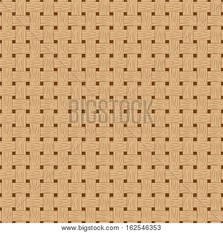 Braided seamless pattern. Wooden braided vector texture. Hand-drawn seamless pattern swatch of bark basket. Cartoon style braided pattern. Brown bark braided texture. Detailed seamless pattern tile