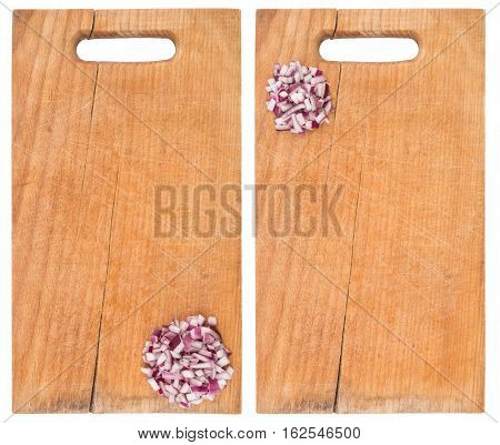 Sliced onion rings on a cutting board. Isolated on white. Top view.