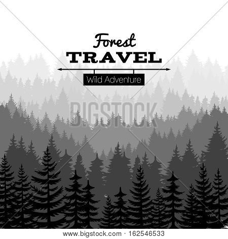 Lumber sketch nature poster with mountains. Vector pine tree forest silhouette background. Panorama evergreen silhouette forest illustration