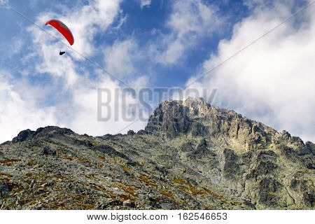 Paragliding and peak Lomnicky stit in High Tatras mountains Slovakia