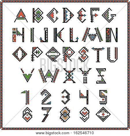 Native american indian font or mexican alphabet with numbers. Figure ethnic traditional african. Vector illustration