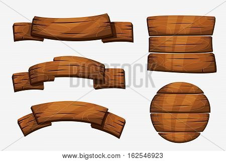 Cartoon wooden plank signs. Wood banner vector elements isolated on white background. Wooden board round form illustration