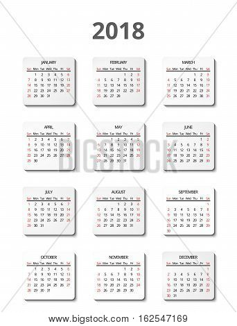 Vector calendar for 2018 year page for posters. Calendar planner and organizer, office calendar illustration