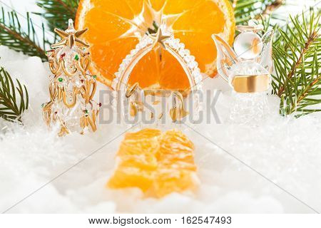 Catholic Christmas Composition. The Trail Leading To The  Tree, The Birth Of Christ And The Angel  N