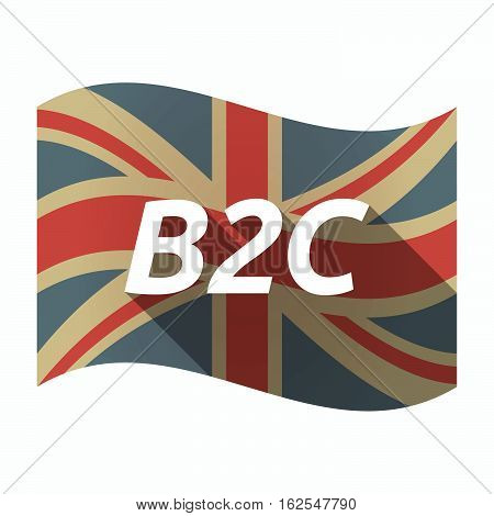 Isolated Uk Flag With    The Text B2C