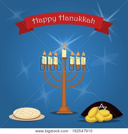 Hanukkah Typography Vector Design. Jewish holiday. Hanukkah Menorah on blue background. Happy Hanukkah greeting card design vector illustration. Tradition religion jewish holiday.