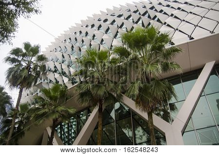 Unique glass roof background. Modern architecture structure