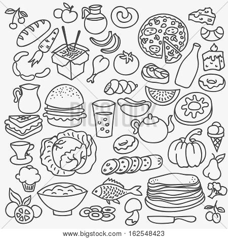 Doodle food icons. Vector hand drawn food set. Background with food for meny illustration