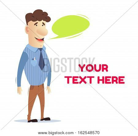 The manager communicates with the client. Office worker. Freelancer. Man at work. A man in business clothes. Vector illustration. Bright character. Vector stock illustration style flat.
