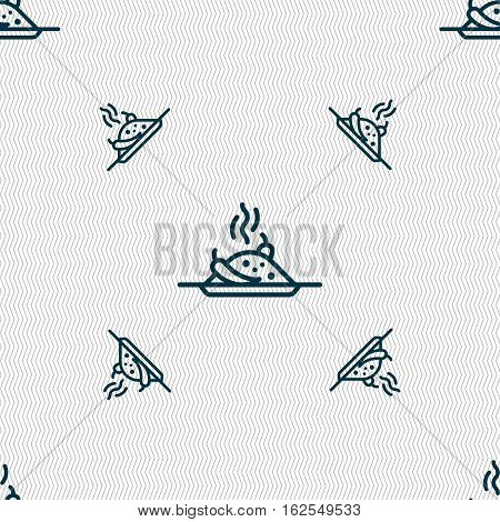 Plate With Red Hot Chili Pepper And Burning Porrige Icon Sign. Seamless Pattern With Geometric Textu