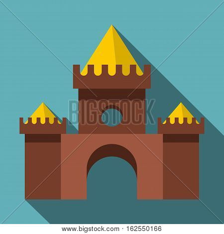 Brown castle icon. Flat illustration of brown castle vector icon for web isolated on baby blue background