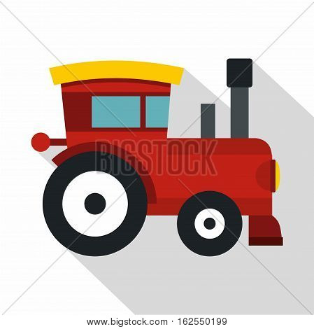 Red toy train icon. Flat illustration of toy train vector icon for web isolated on white background