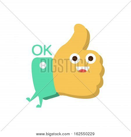 Ok And Thumb Up, Word And Corresponding Illustration, Cartoon Character Emoji With Eyes Illustrating The Text. Primitive Symbol Emoticon For Messages Flat Vector Icon.