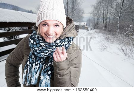 Portrait Of Young Woman Pointing Finger At You