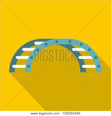 Blue climbing stairs on a playground icon. Flat illustration of climbing stairs on a playground vector icon for web isolated on yellow background