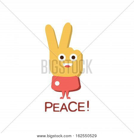 Peace Gesture, Word And Corresponding Illustration, Cartoon Character Emoji With Eyes Illustrating The Text. Primitive Symbol Emoticon For Messages Flat Vector Icon.