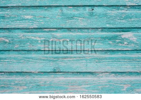 Section of turquoise blue wood panelling from a seaside beach hut. Perfect as a background for Summer Holiday or seaside themes.