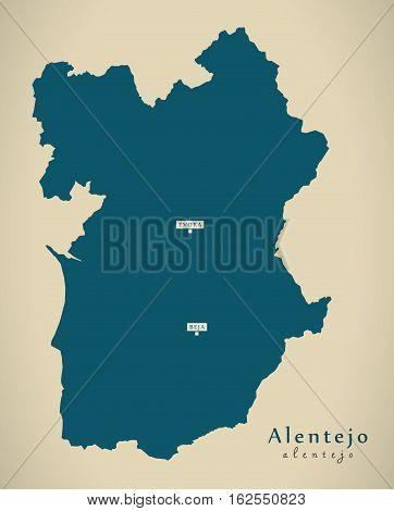 Modern Map - Alentejo Portugal Pt Illustration
